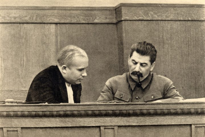 Joseph Stalin and Nikita Khrushchev